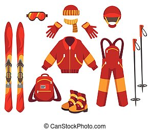 Ski clothes and equipment - Skiing clothes and equipment...