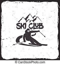Ski club concept with skier. - Ski club concept with skier ...