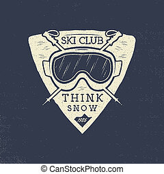 Ski club patch design. Winter sports badge, logotype in retro letterpress style. Stock isolated on grunge background