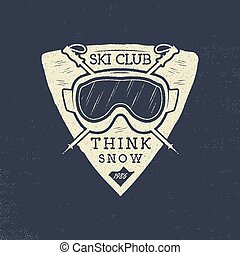 Ski club patch design. Winter sports badge, logotype in retro letterpress style. Stock vector isolated on grunge background
