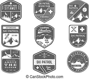 Ski Club, Patrol, Campsite Labels Collection. Vintage Mountain, winter sports explorer badges Outdoor adventure logo design. Travel and hipster monochrome insignia Snowboard icon symbol. Vector patch