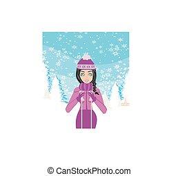 ski, dans, hiver, jour