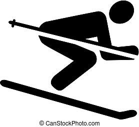 ski, descendant, pictogramme