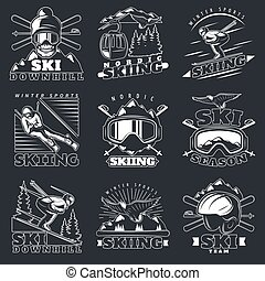 Ski Downhill Emblems Set