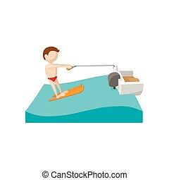 ski eau, dessin animé, icône