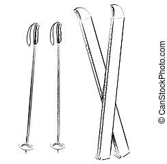 Ski equipment. - Hand drawing sketch. Eps 10 vector...