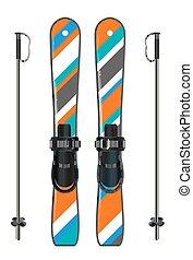 ski equipment with ski board and ski poles