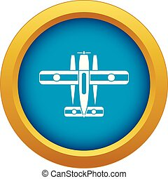 Ski equipped airplane icon blue vector isolated