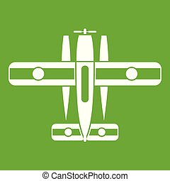 Ski equipped airplane icon green