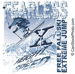 Ski extreme Free Fall - winter sport vector illustration for...