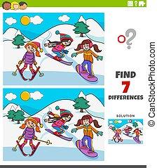 ski fahrend, erzieherisch, unterschiede, spiel, mädels