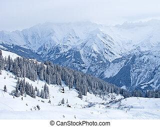 ski fahrend, steigung