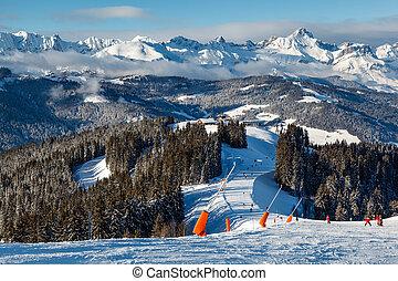 ski fahrend, und, snowboarding, in, französische alpen,...