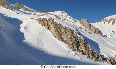 ski, frais, pente, courbes