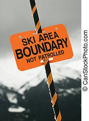 ski gebied, spoor, grens, teken.