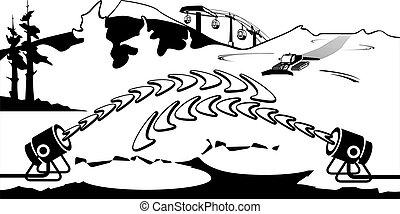 ski, generators, helling, sneeuw, werkende