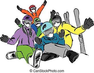 ski, gezin, illustratie, vrolijke