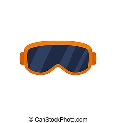 Ski glasses icon, flat style
