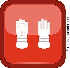 Ski gloves icon on a red button