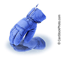Ski gloves | Isolated - Blue ski glove toches icy surface. ...