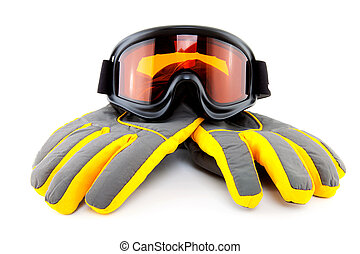 ski goggles and gloves isolated on white background