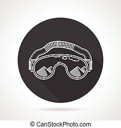 Ski goggles black round vector icon