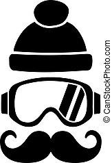 Ski Goggles Hat Mustache