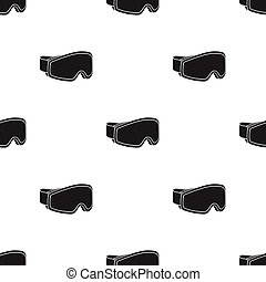 Ski goggles icon in black style isolated on white background. Ski resort pattern stock vector illustration.