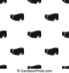 Ski goggles icon in black style isolated on white background. Ski resort pattern stock vector illustration.