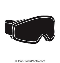 Ski goggles icon in black style isolated on white background. Ski resort symbol stock vector illustration.