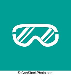 Ski goggles icon on background, vector illustration