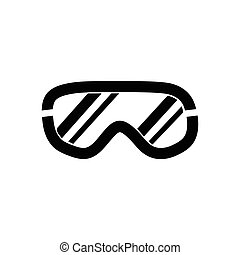 Ski goggles icon on white background, vector illustration