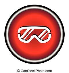 Ski goggles icon on white background, vector illustration