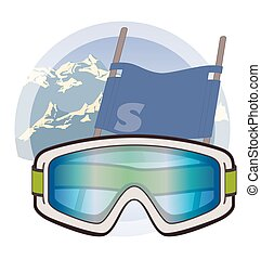 ski goggles on snow with mountains and ski flag in background