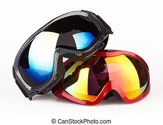 Ski goggles on the white background