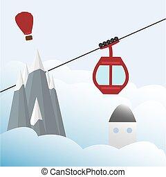 ski, gondole, ascenseur