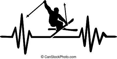 Ski heartbeat line