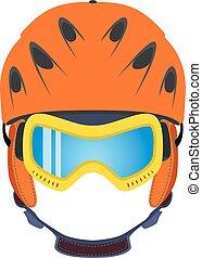 Ski helmet, snowboard glasses, goggles in flat style. Extreme sports.