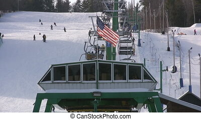 Ski Hill - Chair Lift At A Ski Resort, With The American...