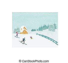 ski, hiver, jour