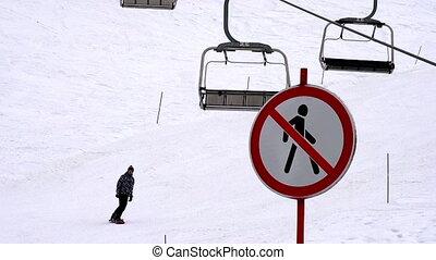 Ski Holidays - Forbidden zone for pedestrians on the ski...