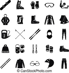 Ski icons series. - Set of equipment, cloth and shoes for...