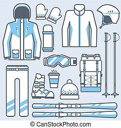 Ski icons set. Mountain skiing gear and accessories collection. Winter sport and activity skiing equipment vector elements set. Snow boots, poles, jacket isolated