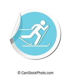 ski, illustratie, icon., vector, hardloop wedstrijd