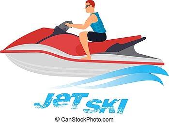 ski, illustration, jet