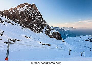 ski incline, dans, alpes