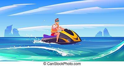 ski, jet, homme, cavalcade, aquabike, jeune, mer