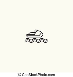 Ski jet line icon vector. illustration on white background, ...