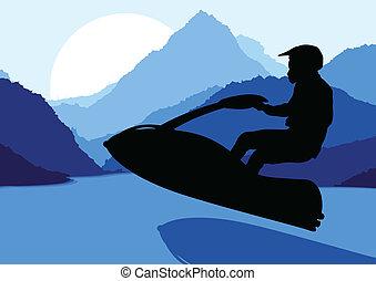 Ski jet water sport motorcycle rider background vector - Ski...