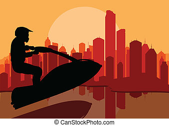 Ski jet water sport motorcycle rider background vector